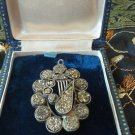 Antique VICTORIAN Sterling Silver BROOCH PENDANT SET WITH STONE CHIPS - HEAVY!!!