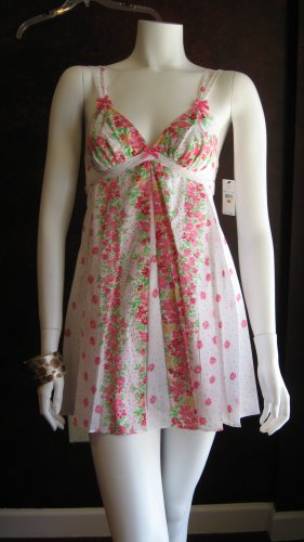 Betsey Johnson White Cotton with Pink Flowers accents summer dress
