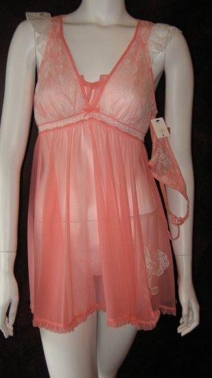 Betsey Johnson Pink Babydoll negligee dress with matching thong.
