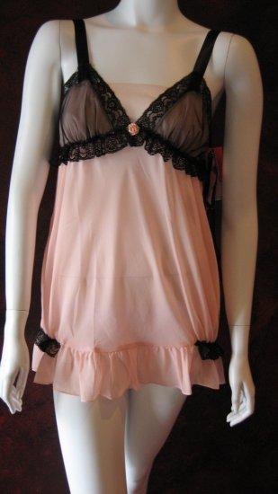 Betsey Johnson Pink chiffon Babydoll negligee dress with matching thong.