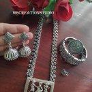 Silver Oxidised Art deco long haram set Free shipping