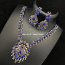 multi color stones necklace set, German Silver Jewelry Set, Oxidize Necklace, Free Shipping
