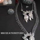 Radhakrishna Silver Oxidised Jewelry combo set of 6 Long Necklace set, Free shipping