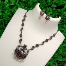 Antique Silver handmade Indian jewelry   stones and pearls necklace set   Free shipping