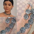 Choker set flower design, Indian handmade oxidise German silver Jewelry set Free shipping