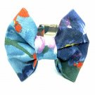 Blue Flowers Bow Tie Collar