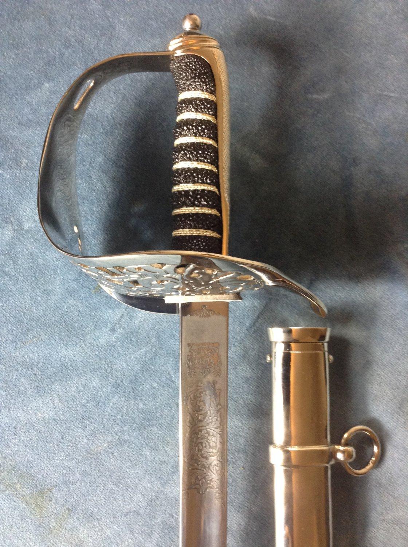 Elizabeth II British Corps of Royal Engineer Officer Ceremonial Sword & Scabbard