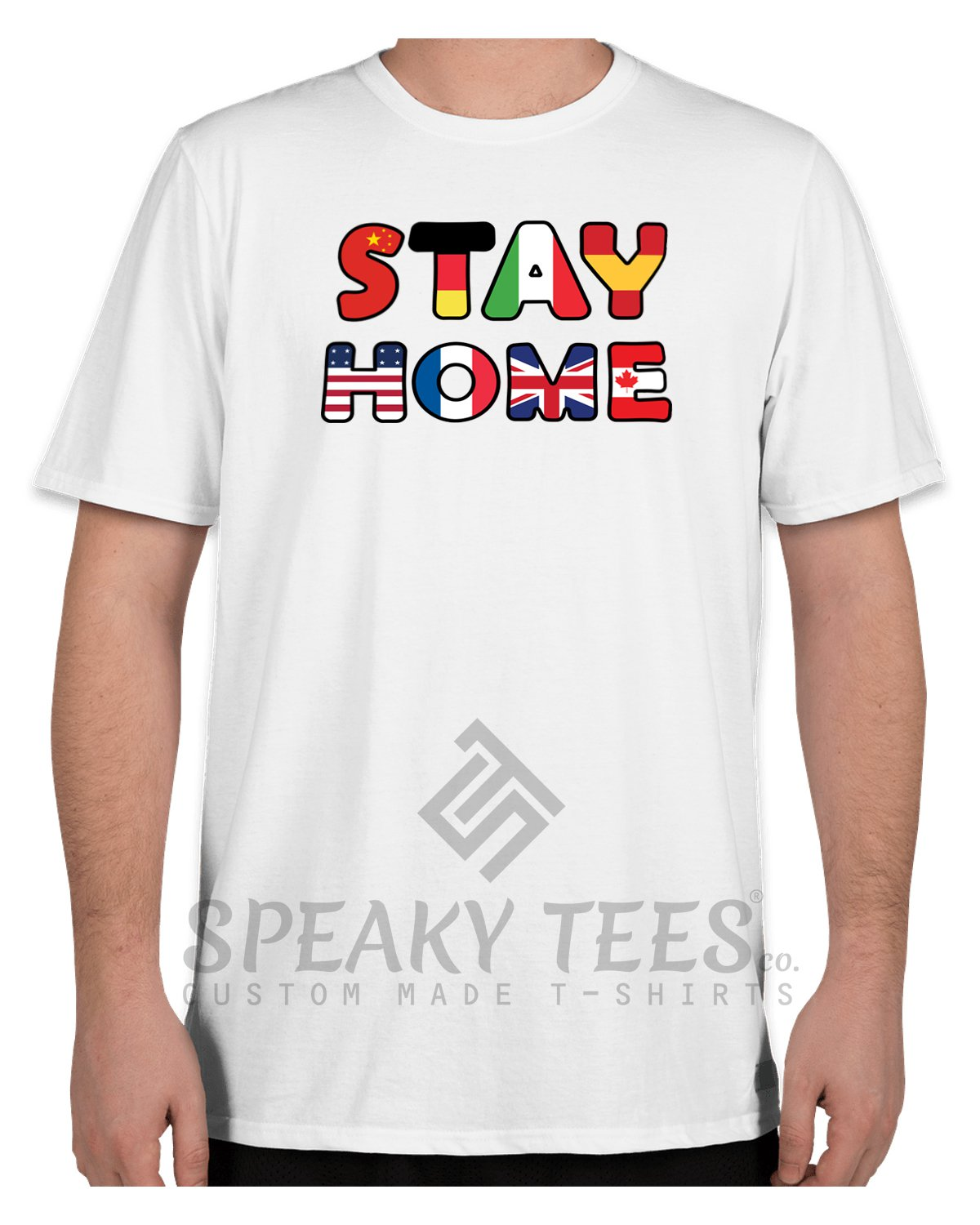 Size 2XL STAY HOME Covid-19 White Tshirts for Unisex 100% Cotton Regular & Plus Sizes T shirts