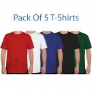 Size M ( Pack of 5 Multi Tshirts ) 100% Cotton Tees for Unisex Regular & Plus Sizes T shirts