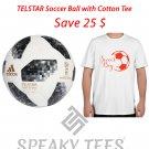 Size XS Cotton Tshirts with Adidas Telstar Soccer Ball-Training Football Plus Sizes Tees T shirts