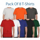 Size M ( Pack of 8 Multi Tshirts ) 100% Cotton Tees for Unisex Regular & Plus Sizes T shirts