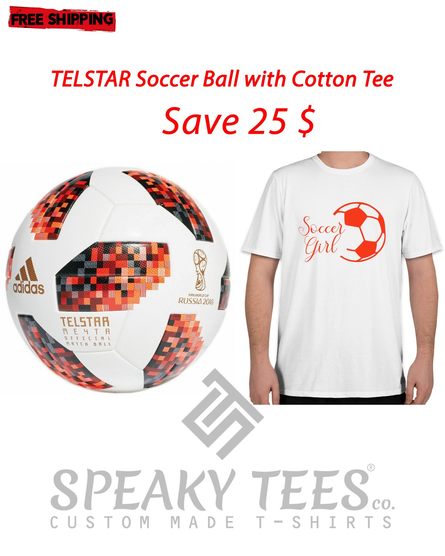Size 6XL Cotton Tshirts with Adidas Telstar Soccer Ball-Training Football Plus Sizes Tees T shirts