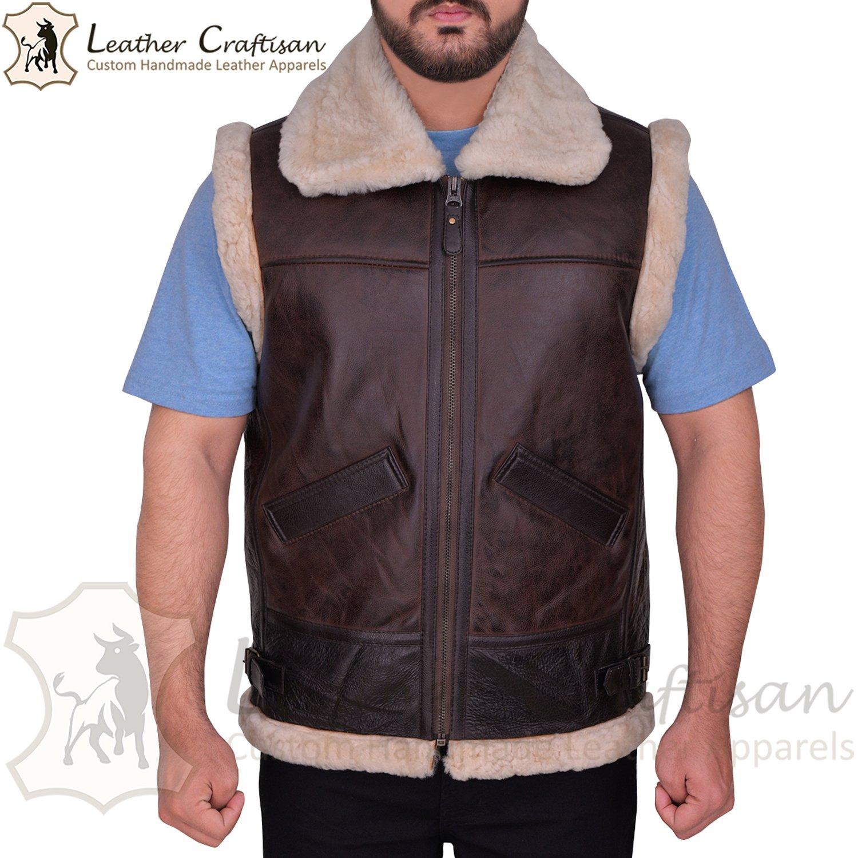 Size (XS - 6XL) Men's Real Sheepskin Leather Vest - RAF Aviator B3 Bomber Shearling Fur Leather VEST