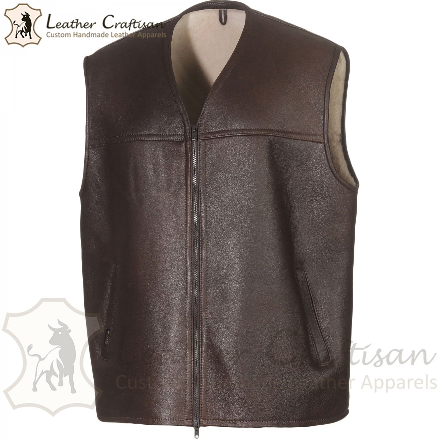 Size (XS - 6XL) Men's Genuine Sheepskin Casual Leather Vest-Handmade Shearling Fur Real Leather VEST