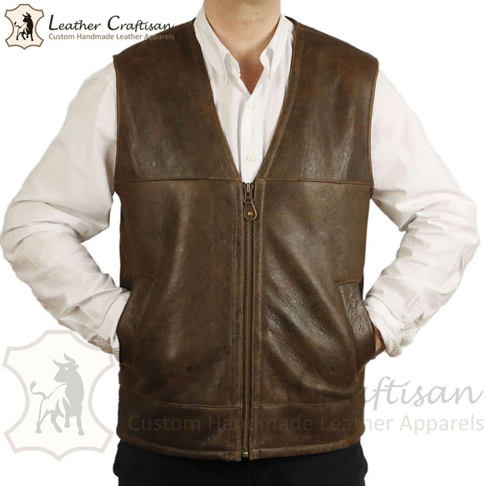 Size (XS - 6XL) Genuine Sheepskin Casual Leather Vest - Men's Shearling Fur Formal Leather VEST