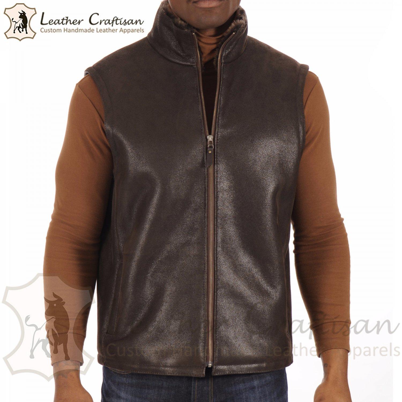 Size (XS - 6XL) Real Sheepskin Leather Vest For Men, Handmade Brown Shearling Formal Leather VEST
