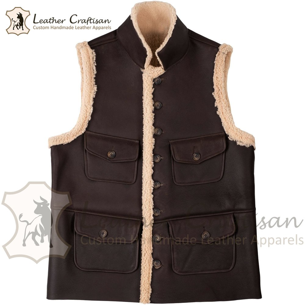 Size (XS - 6XL) Men's Brown Real Cowhide Leather Vest, RAF B3 Bomber Shearling Fur Leather VEST
