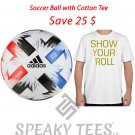 XS - 8XL White Cotton Tshirt with Adidas Champions Soccer Ball - Football Plus Size Tees T shirts