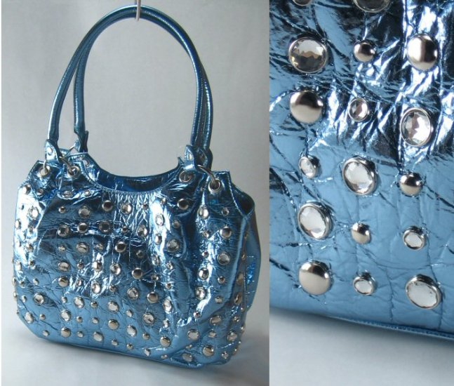 Metallic Handbags with Studded Front