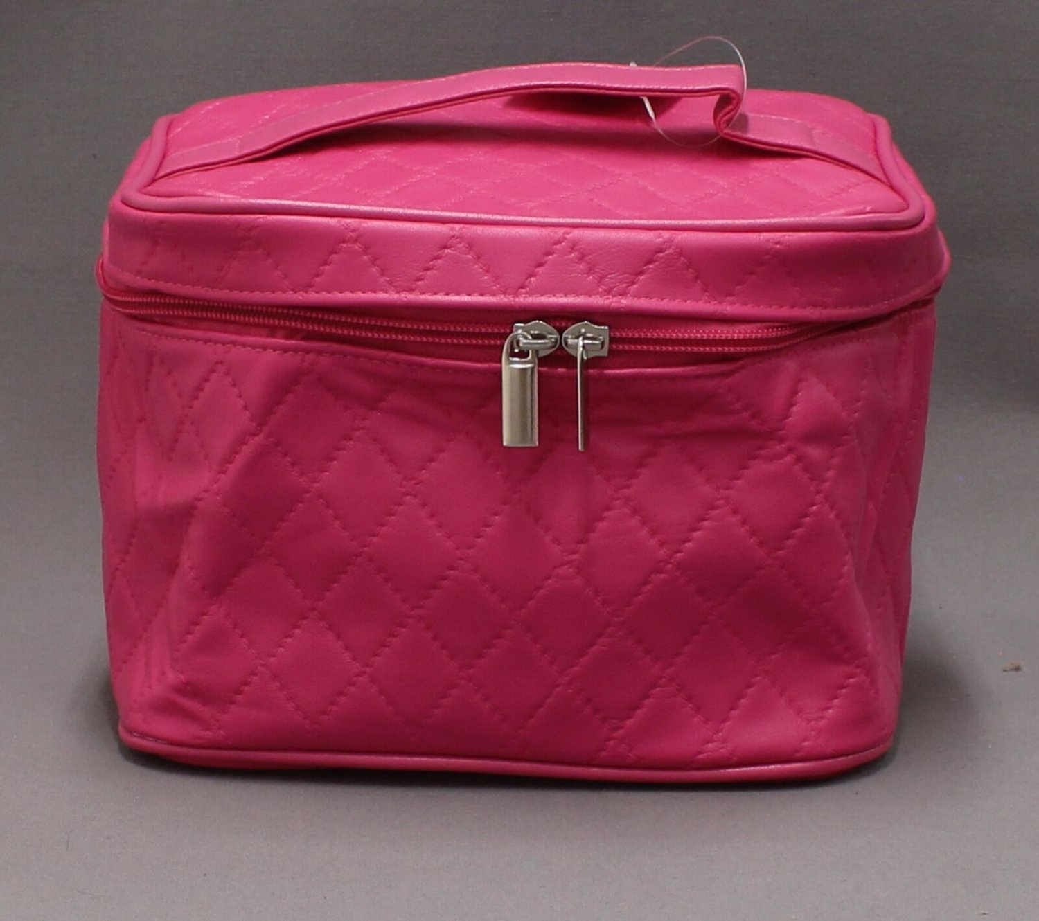 Oxford Street Quilted Train Case Bag Travel Cosmetics Makeup Jewelry Pink