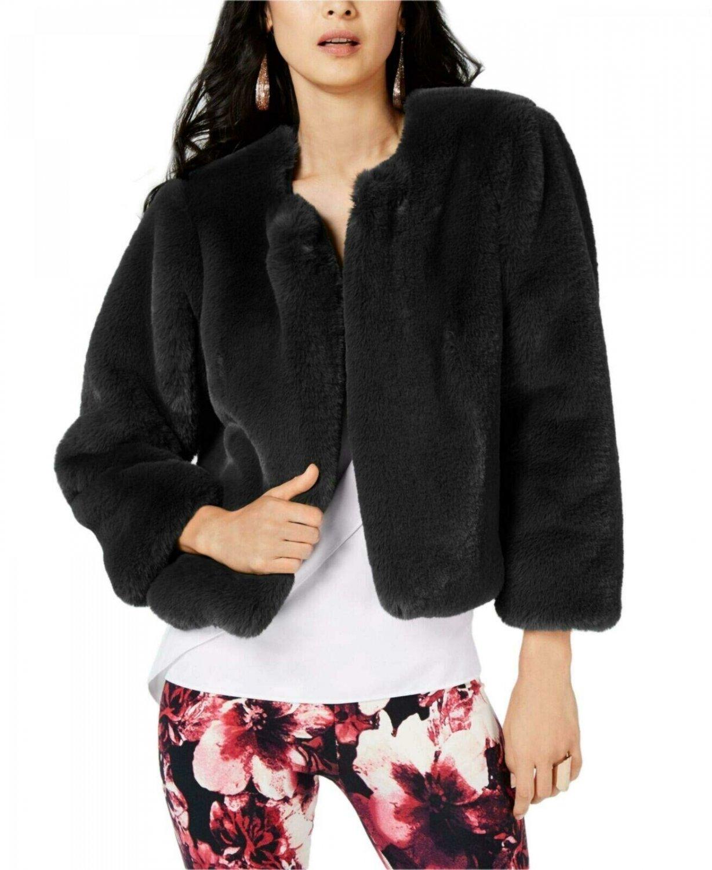 Thalia Sodi Women's Open Front Faux -Fur Jacket. 100032709 X-Large Deep Black