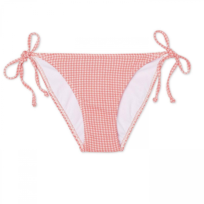 Xhilaration Women's Houndstooth Texture String Cheeky Bikini Swim Bottom Small Coral / White Houndst