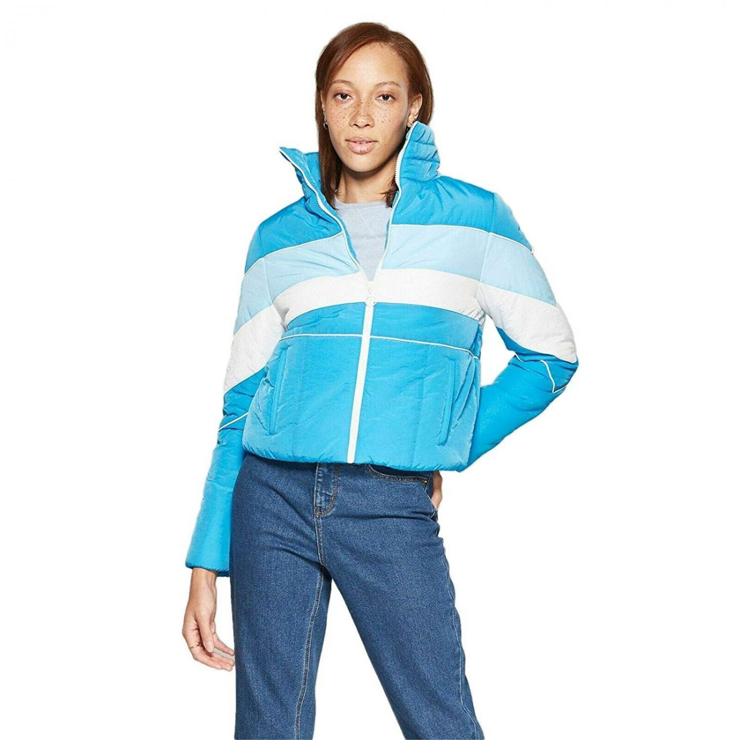 Wild Fable Women's Color Blocked Puffer Jacket Large Aegean Blue / White