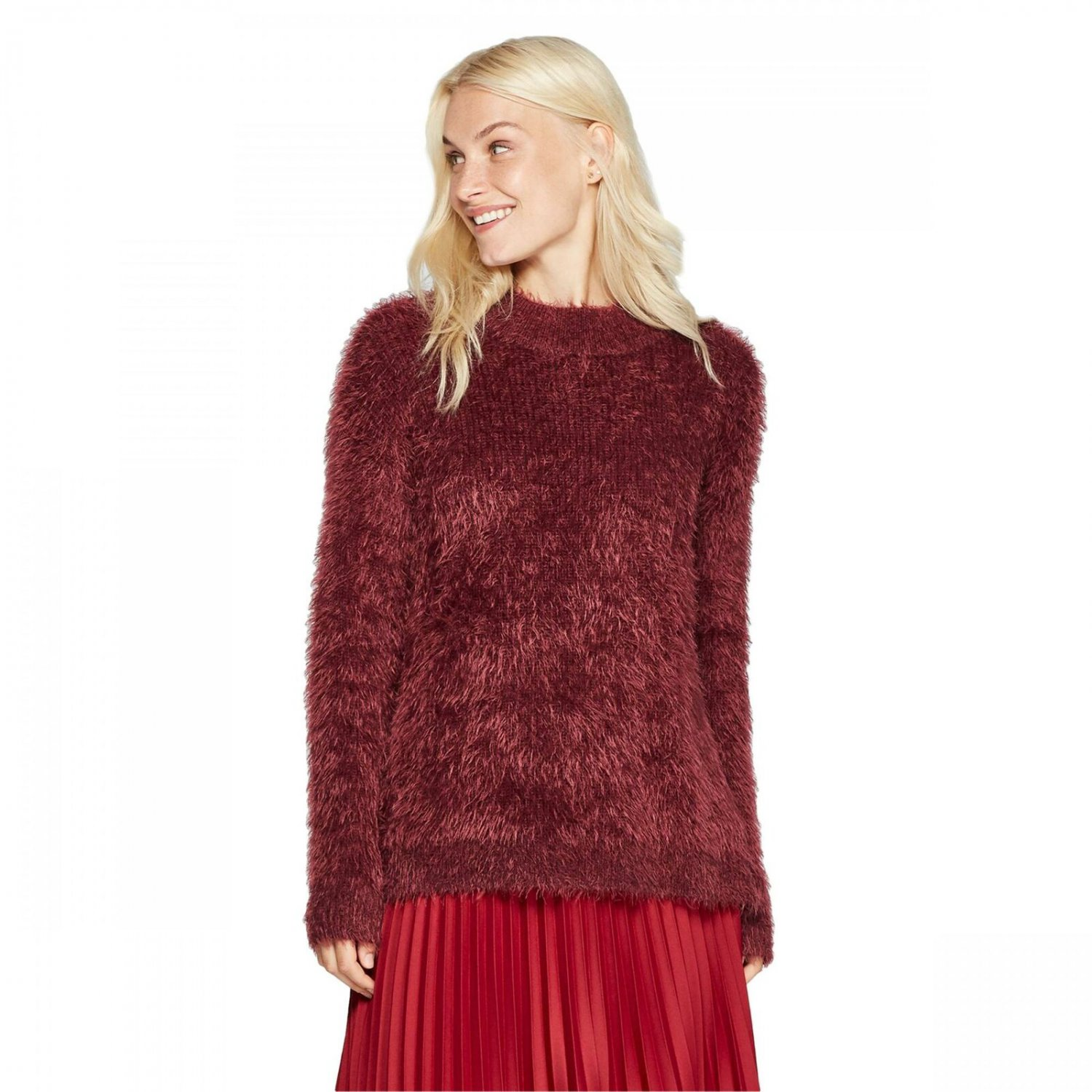A New Day Women's Casual Fit Textured Mock Turtleneck Pullover Sweater XX-Large Burgundy