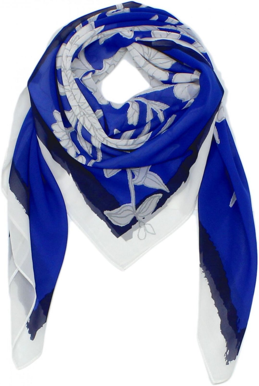 A New Day Women's Square Fashion Scarf Blue / White Floral One Size