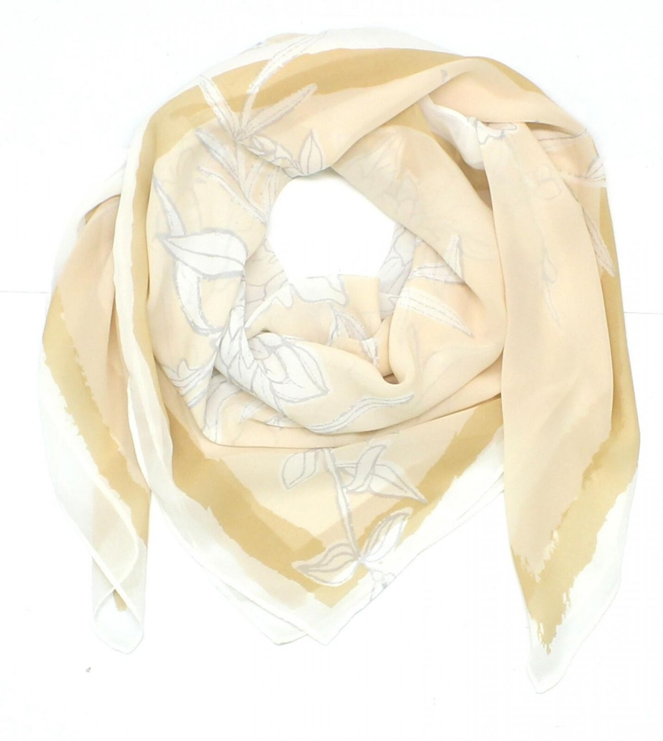 A New Day Women's Square Fashion Scarf Cream Floral One Size