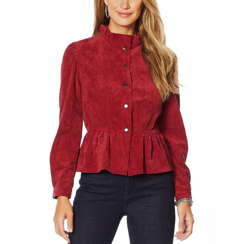 LaBellum by Hillary Scott Women's Ruffle Trim Peplum Corduroy Jacket Medium Mineral Red