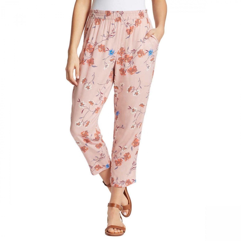 Jessica Simpson Women's Floral Soft Ankle Pants X-Large Pink Floral