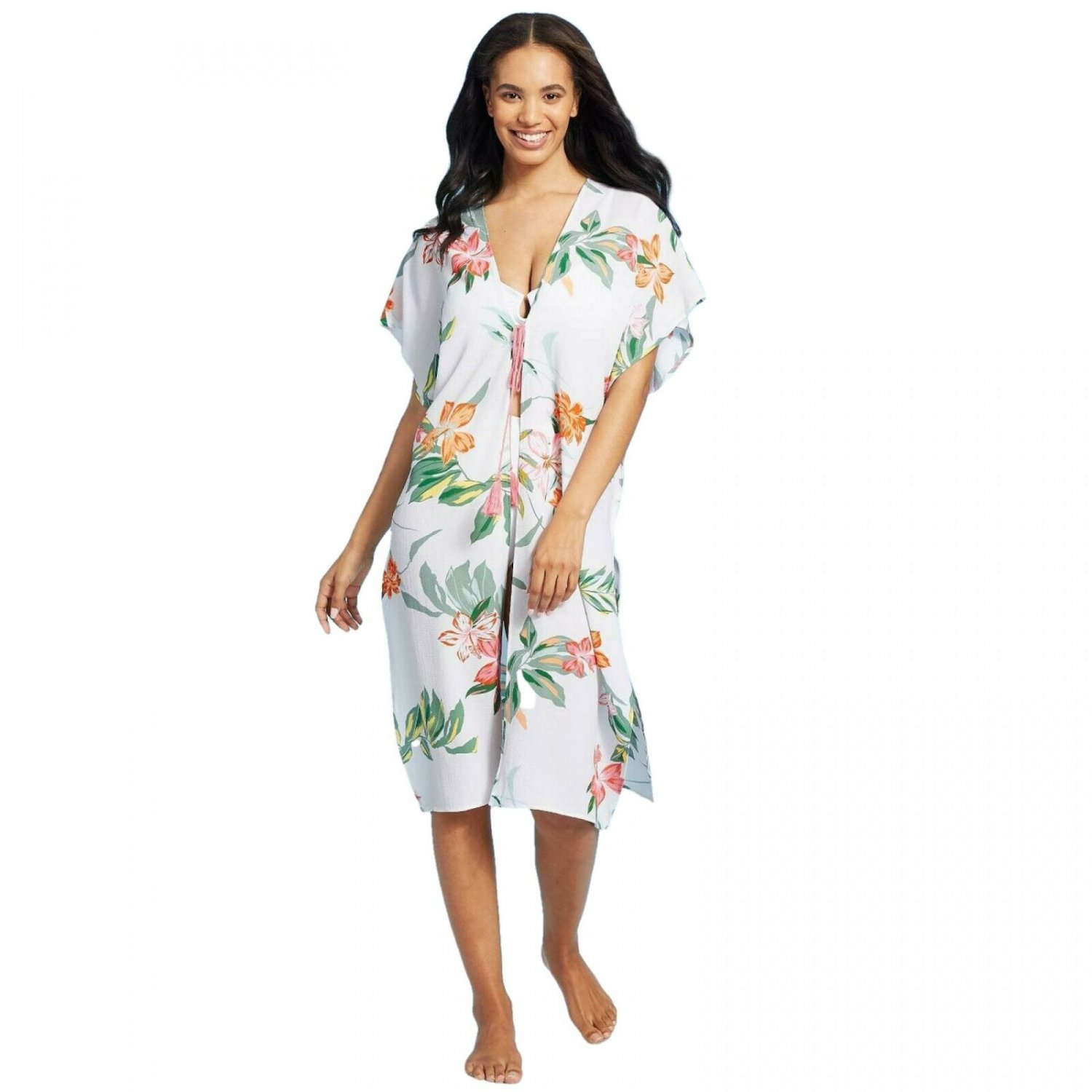 Cover 2 Cover Women's Smocked Back Kimono Cover Up Small White Tropical