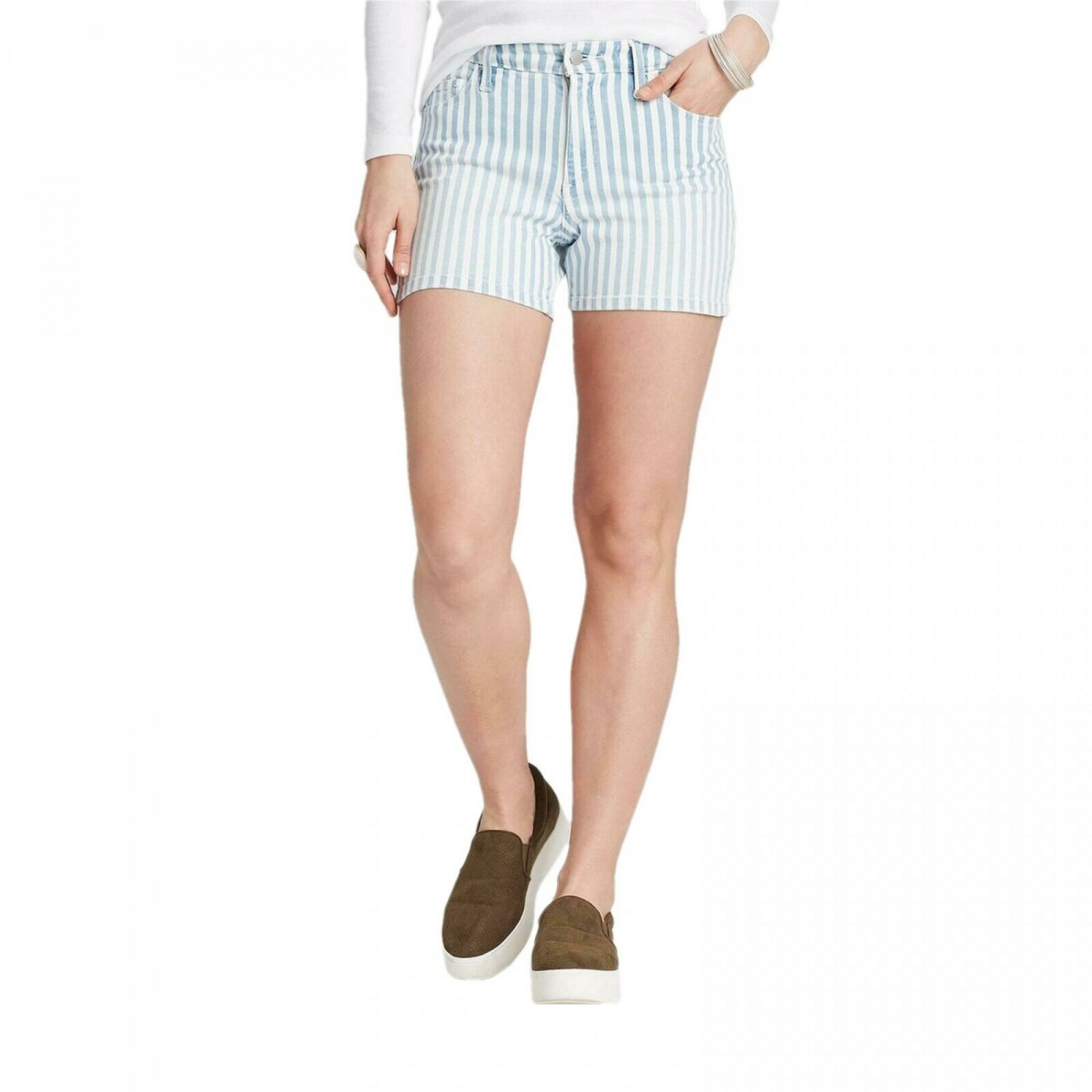 Universal Thread Women's Striped High Rise Jean Shorts 12 Geek Stripe Blue and White