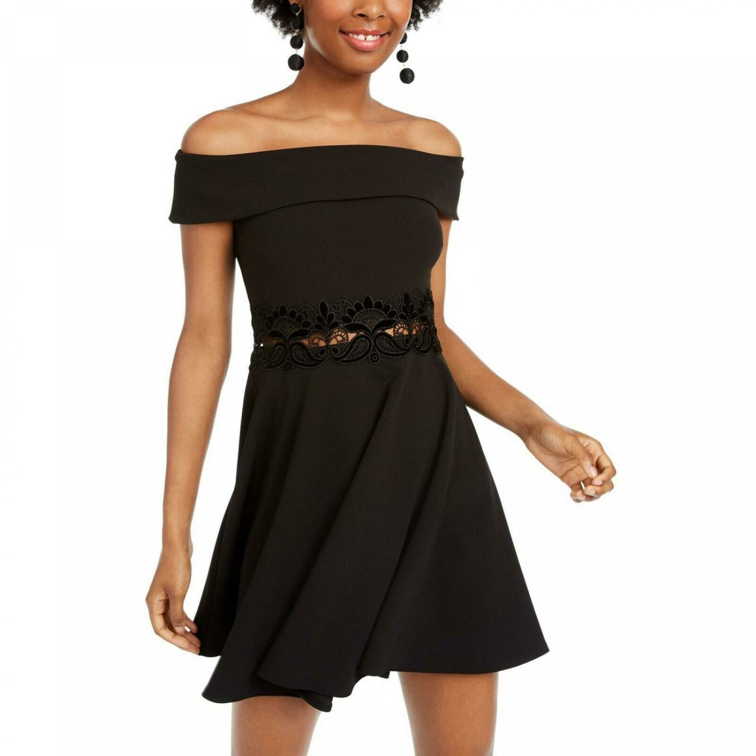 B. Darlin Women's Junior Fit Off The Shoulder Fit and Flare Dress 1/2 Black