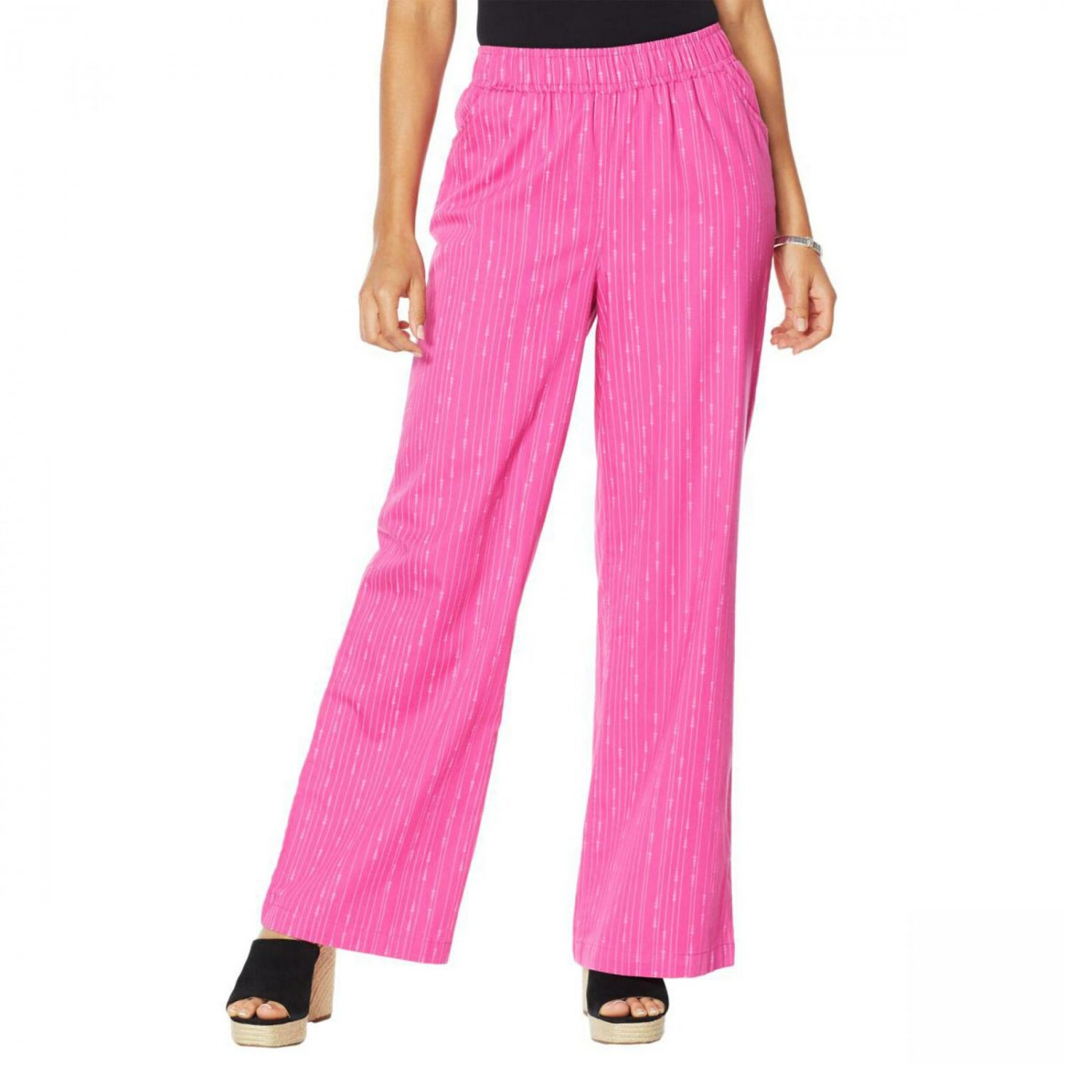 DG2 by Diane Gilman Women's Tall SoftCell Chambray Wide Leg Pants X-Small Tall Magenta Sphere Stripe