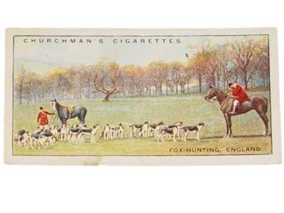 CHURCHMAN'S CIGARETTES FOX HUNTING ENGLAND TOBACCO CARD