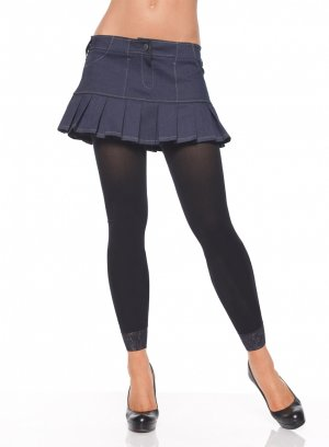 Opaque Footless Tights w/ Lace Trim- O/S Black