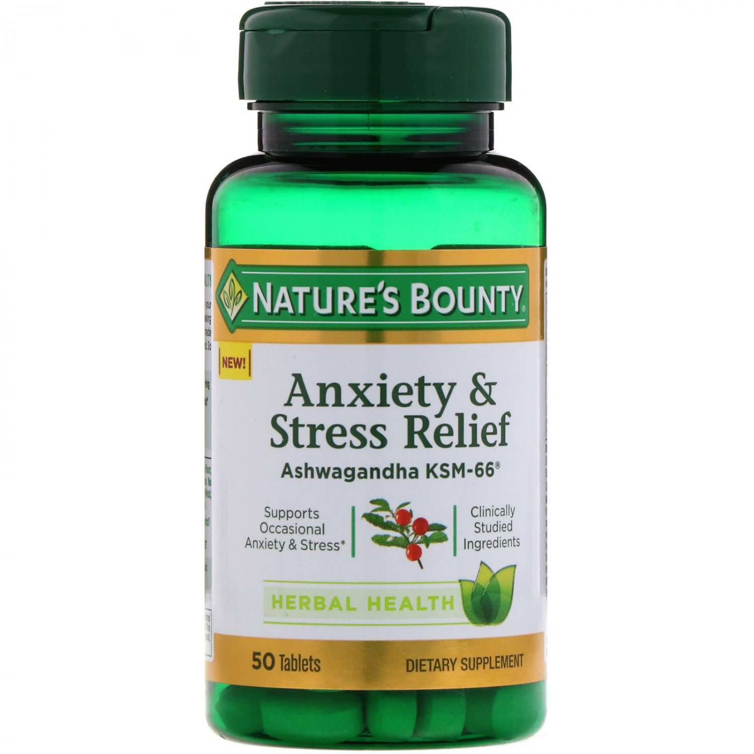 Nature's Bounty, Anxiety & Stress Relief, Ashwagandha KSM-66, 50 Tablets