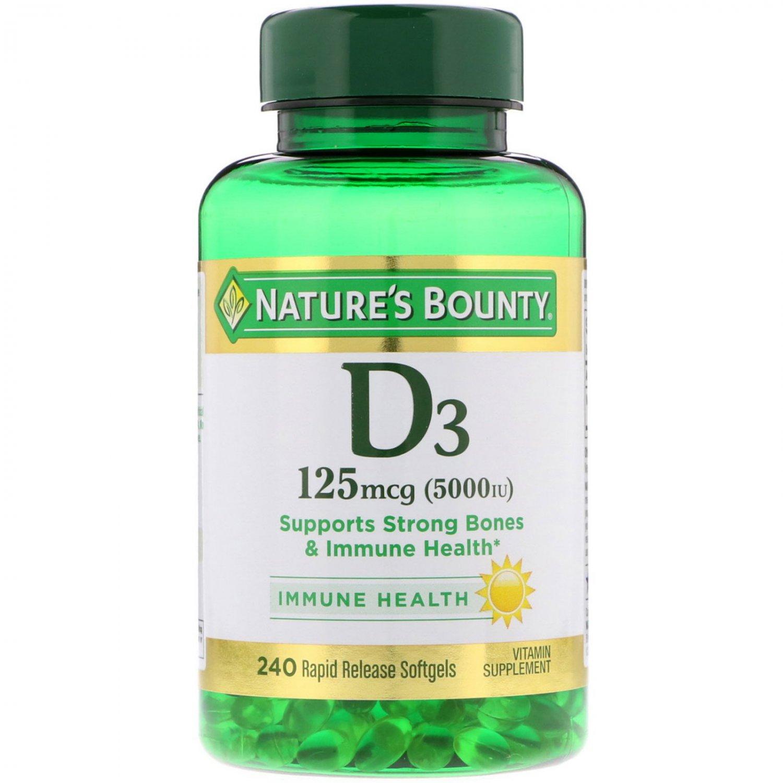 Nature's Bounty, D3, 125 mcg (5000 IU), 240 Rapid Release Softgels