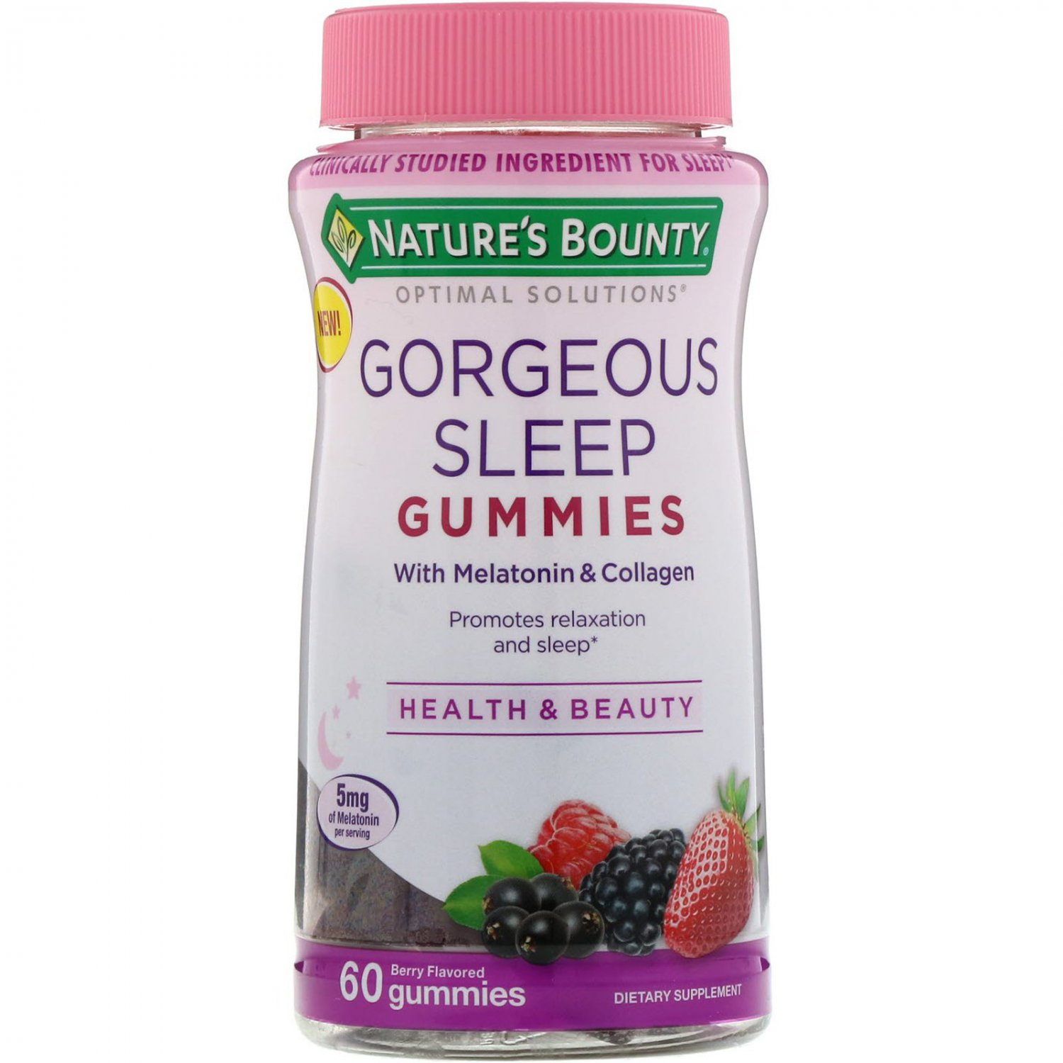 Nature's Bounty, Optimal Solutions, Gorgeous Sleep, Berry Flavored, 60 Gummies