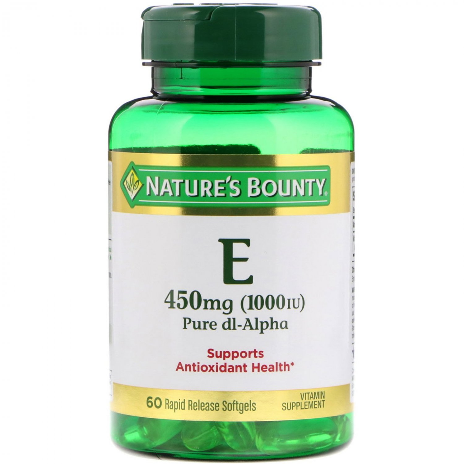 Nature's Bounty, Vitamin E, Pure Dl-Alpha, 450 mg (1000 IU), 60 Rapid Release Softgels