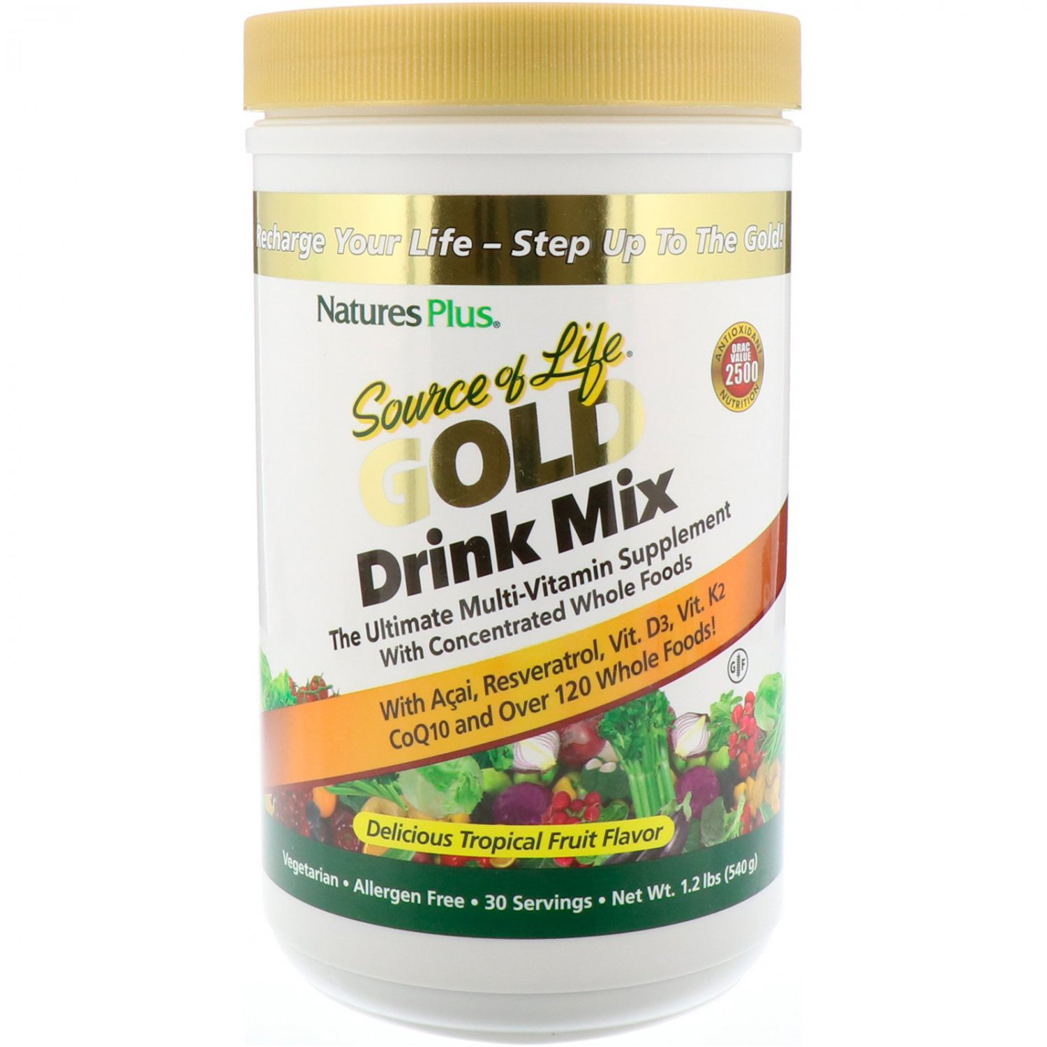 Nature's Plus, Source of Life Gold Drink Mix, Delicious Tropical Fruit Flavor, 1.2 lbs (540 g)