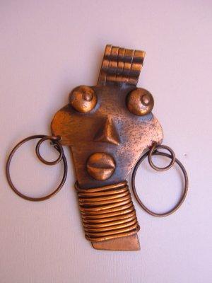 UBANGI african FACE Brooch Pin Vintage COPPER  REBAJES
