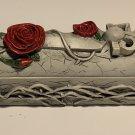 Rose and Dagger Coffin Incense Burner Ash Catcher Box