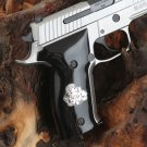 Sig Sauer P 226 grips Black PMMA  Acrylic with custom logo made of silver.