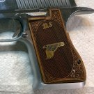 Desert Eagle Mark XIX grips custom made from Walnut wood with Brass Eagle and initials.