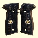 Sig Sauer P228 grips made from walnut wood  with custom logo made of silver.