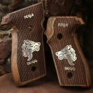 Sig Sauer P226 grips made of walnut wood  with custom logo made of silver.