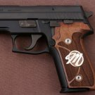 Sig Sauer P228 grips made of walnut wood  with custom logo made of silver.